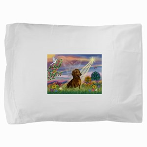 Cloud Angel /Dachshund (brn s Pillow Sham